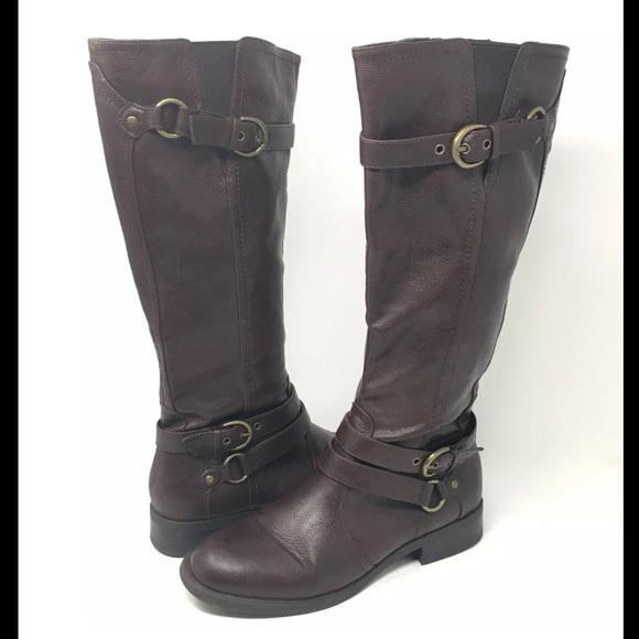 a71edf897f8 White Mountain Knee High Brown Zip Up Boots Buckle.  M 5b8301dabf77293b161e550b